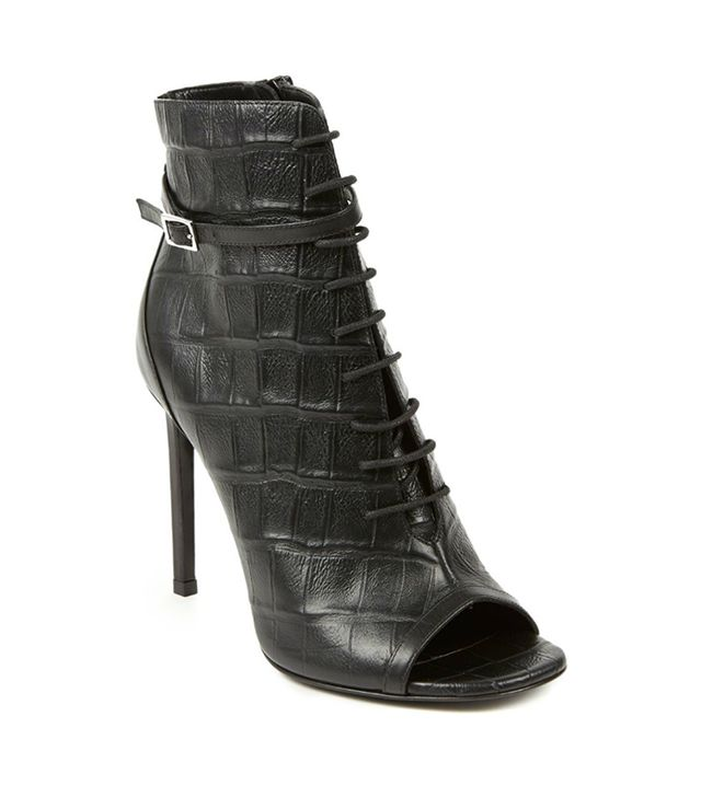 Saint Laurent Open-Toe Lace-Up Croc-Embossed Leather Booties