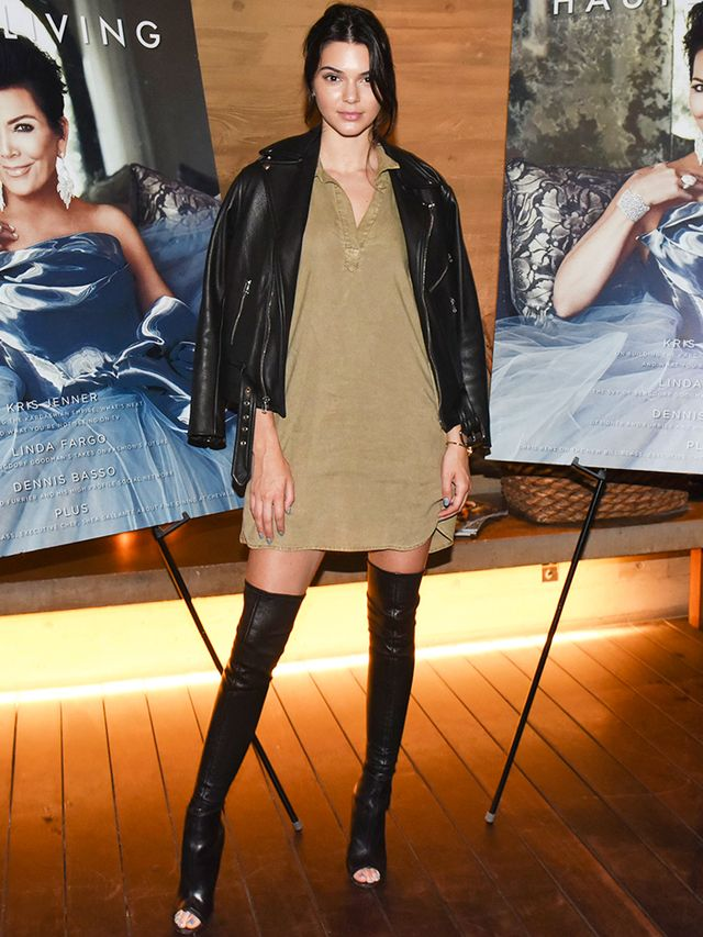 On Jenner: Bella Dahl dress; Givenchy boots.