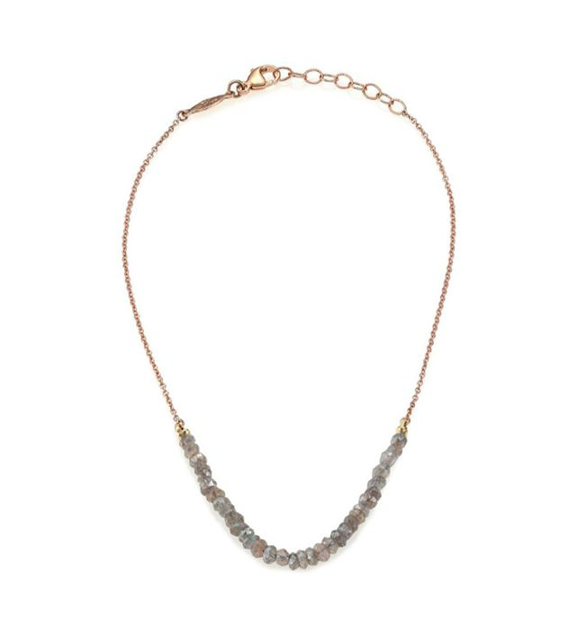Jacquie Aiche Labradorite & 14K Rose Gold Beaded Anklet