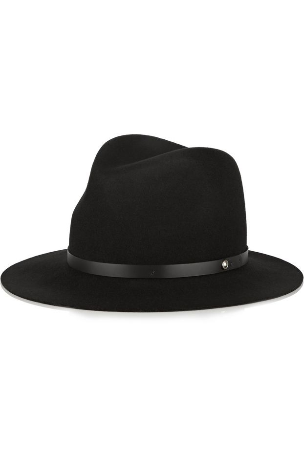 Rag & Bone Leather-Trimmed Wool Fedora
