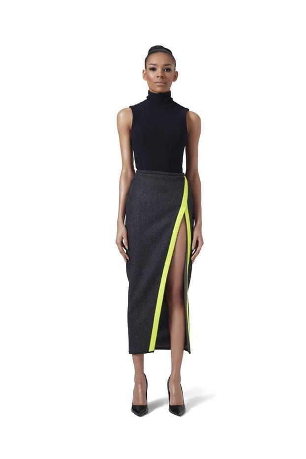 LaQuan Smith V-Wrap Wool Skirt