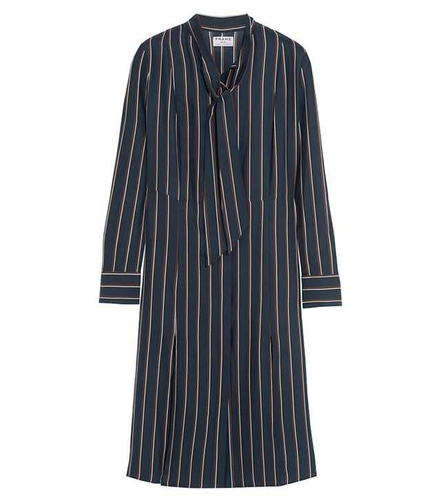 Frame Denim Le Shirt Striped Washed Silk-Charmeuse Dress