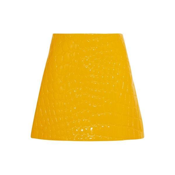 Miu Miu Croc-Effect Faux Patent-Leather Mini Skirt
