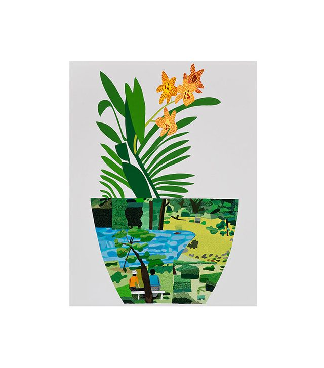 """Landscape Pot with Yellow Orchid"" by Jonas Wood"
