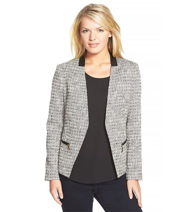 Ivanka Trump Tweed Jacket with Faux Leather Trim