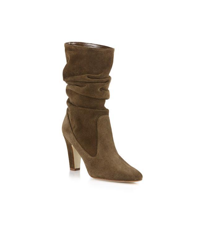 Manolo Blahnik Artesina Suede Slouchy Mid-Calf Boots