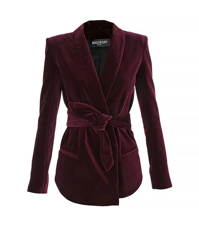 Balmain Belted Cotton Velvet Blazer