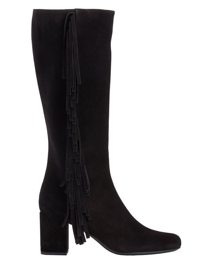 Saint Laurent Fringe-Trim Babies Knee Boots