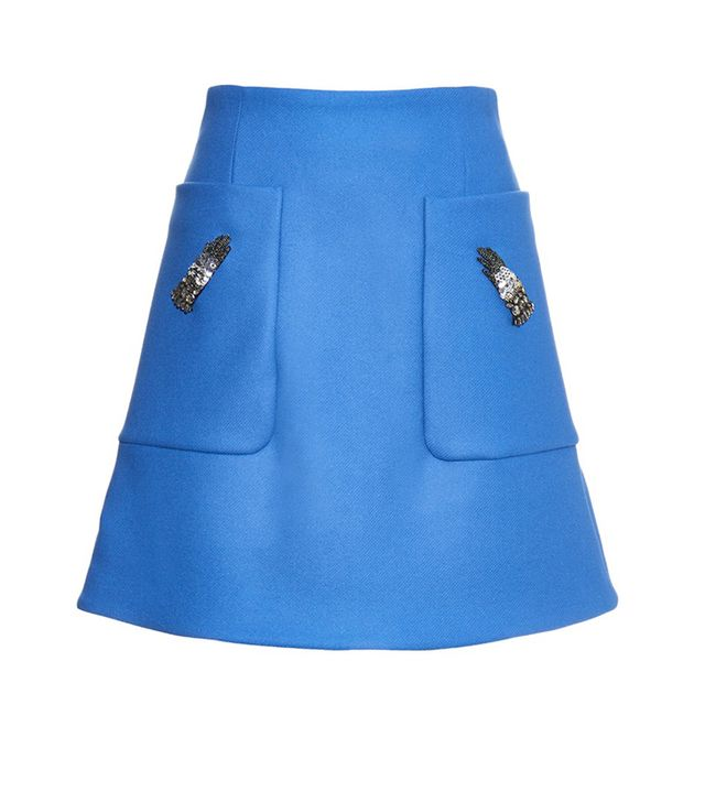 Rochas Glove-Embellished Wool-Blend Mini Skirt