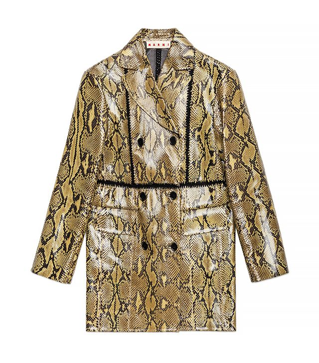 Marni Crochet-Crafted Coat in Shiny Python