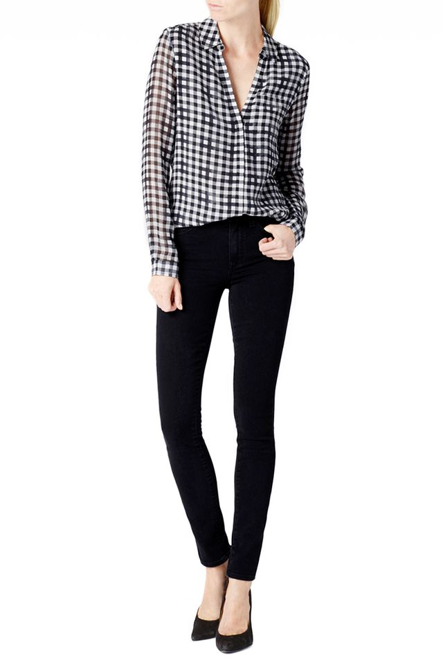 Paige Everleigh Shirt in White and Black Gingham