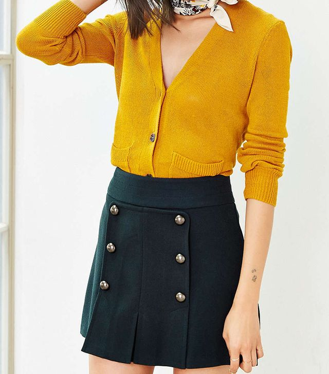 Cope Pleated Button-Panel Skirt