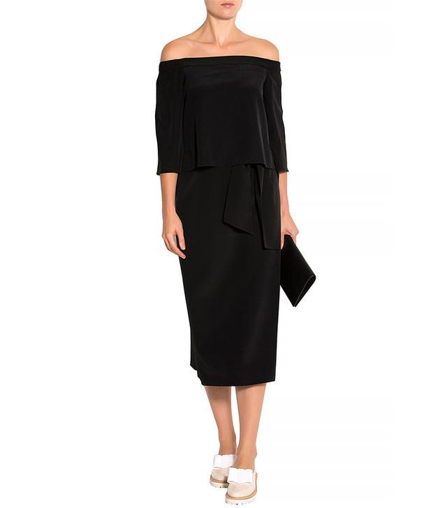 Tibi Long-Sleeve Off-the-Shoulder Sheath Dress