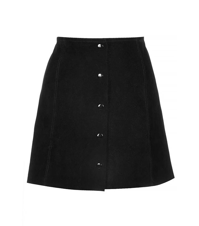 Topshop Suede Button-Front Skirt