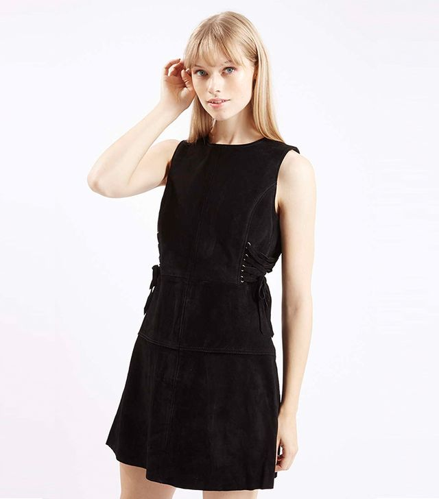 Topshop Premium Suede Side-Tie Dress