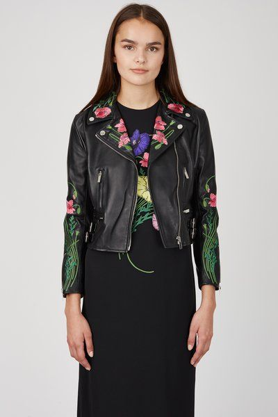 Christopher Kane Floral Embroidered Leather Jacket