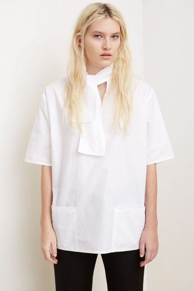 Opening Ceremony Poplin Tie Collar Fleur Top