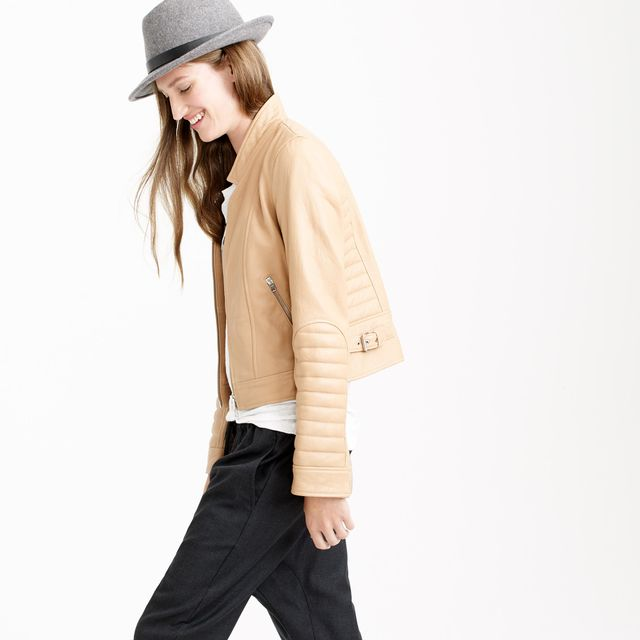 J. Crew Collection Standing-Collar Leather Jacket