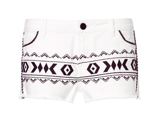 Zara  Ikat Embroidered Shorts