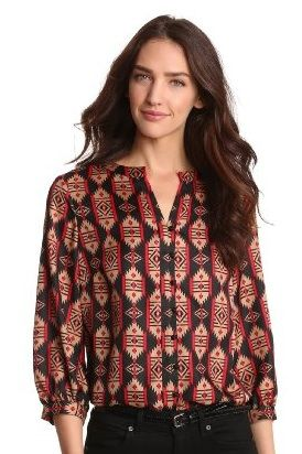 Jones New York  Peasant Style Tribal Printed Top