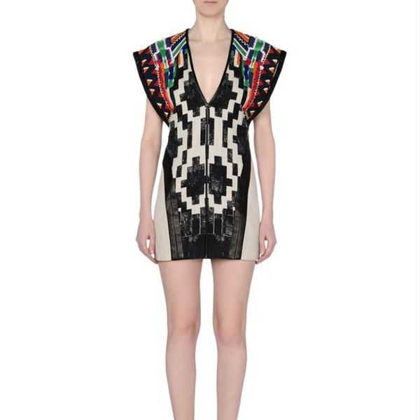 Barbara Bui Printed Linen Poncho Dress