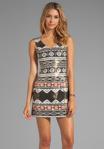 Nanette Lepore  Aztec Linen Dress