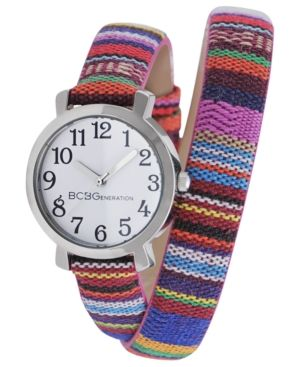 BCBGeneration  Tribal Print Canvas Double Wrap Strap Watch