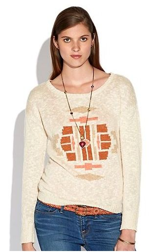 Lucky Brand  Button Back Intarsia Sweater