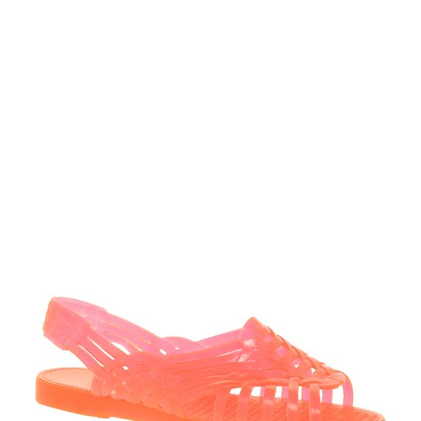 JuJu  Petra Fluro Orange Slingback Flat Sandals