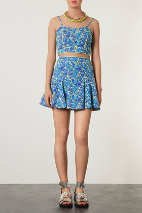 Topshop Floral Piped Crop Top and Skirt