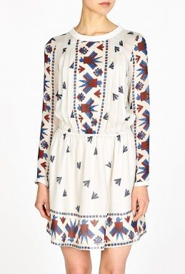 Sea NY Dupioni Eagle Print Washed Silk Dress
