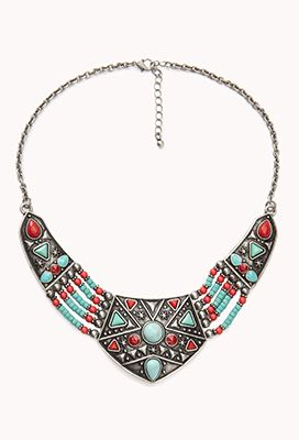 Forever 21  Tribal-Inspired Beaded Bib Necklace