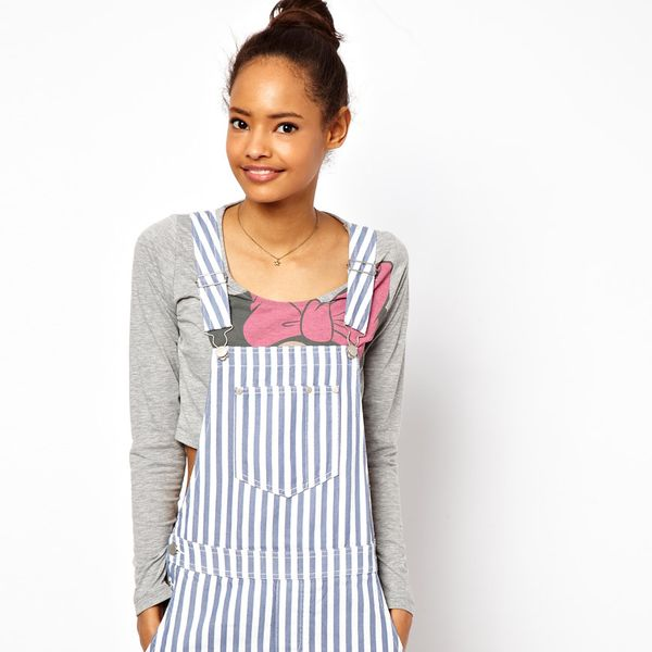 ASOS  Short Denim Overalls in Candy Stripe