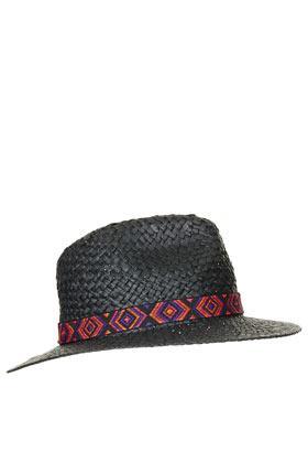 Topshop  Straw Aztec Band Fedora Hat