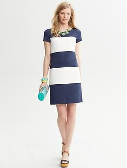 Banana Republic  Rugby-Stripe Ponte Dress