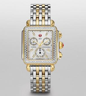 Michele Watch Signature Deco Two-Tone Diamond Dial Watch
