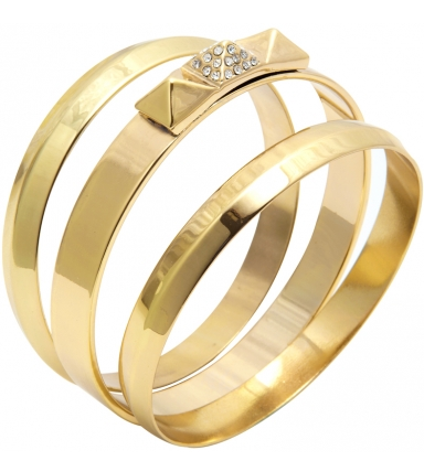 Capwell & Co. Gold Pave and Metal Pyramid Bangle