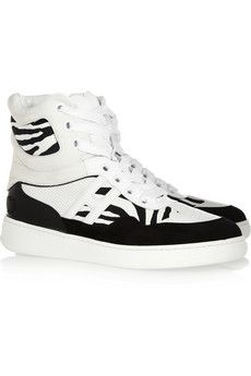 Katie Grand Loves Hogan  Leather, Suede and Printed Canvas Wedge High-Top Sneakers