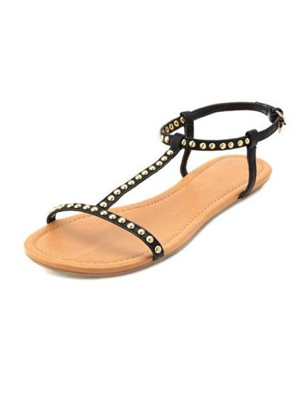 Charlotte Russe  Studded T-Strap Sandals