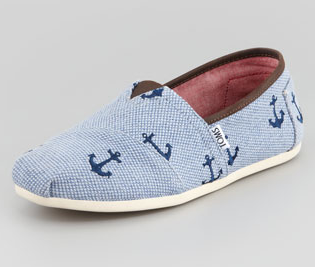 Toms Anchor Embroidered Canvas Slip-Ons