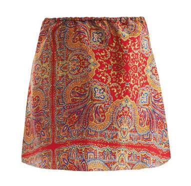 Carven Shantung-Silk Paisley-Print Skirt