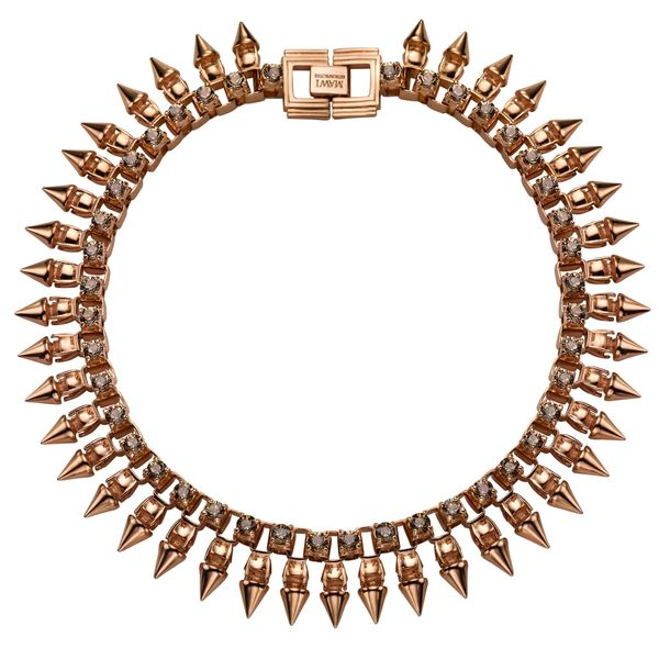 Mawi Rose-Gold Plated Spike And Crystal Necklace