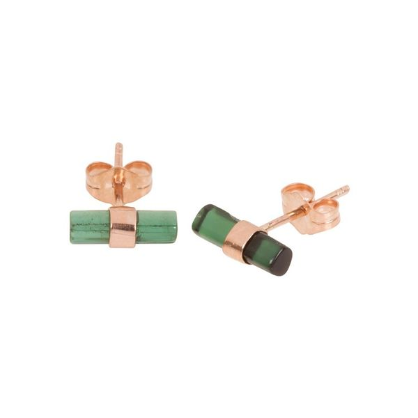 Jacquie Aiche Raw Green Tourmaline Bar Stud Earrings