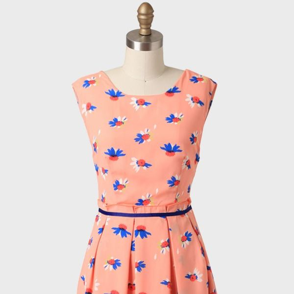 Ruche Blossoming Creativity Printed Dress