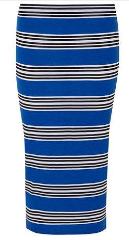 Dorothy Perkins  Blue Stripe Tube Skirt