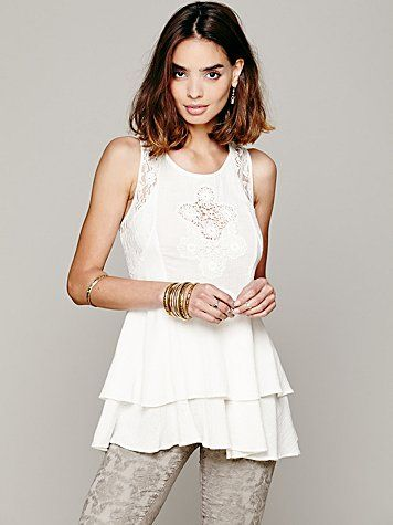 Free People Sleeveless Lace Inset Tank