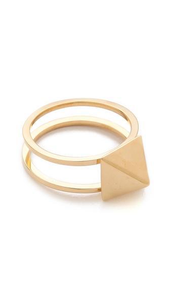 Jennifer Zeuner Jewellery  Double Band Square Stud Ring