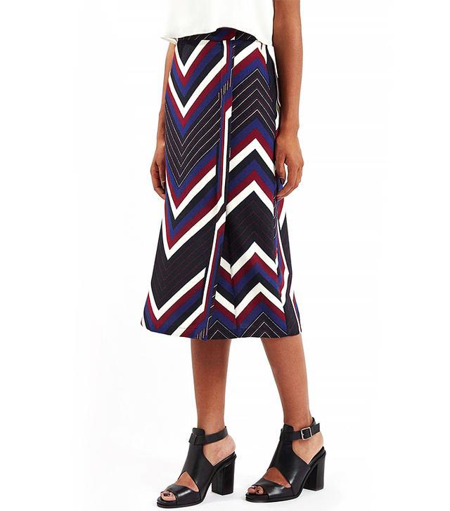 TOPSHOP Chevron Stripe Wrap Skirt
