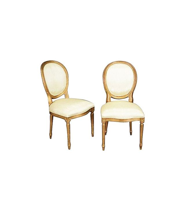 Chairish French Louis VI Style Oval Back Chairs