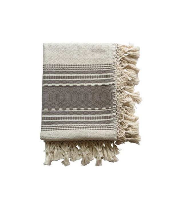 Alegria Home Oaxaca Cream & Taupe Cotton Throw